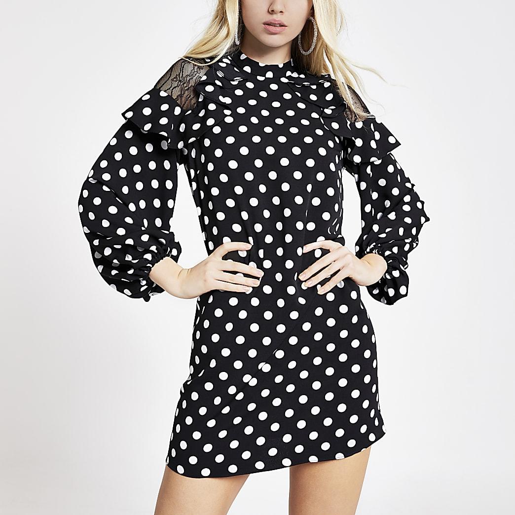 Black polka dot frill mini swing dress