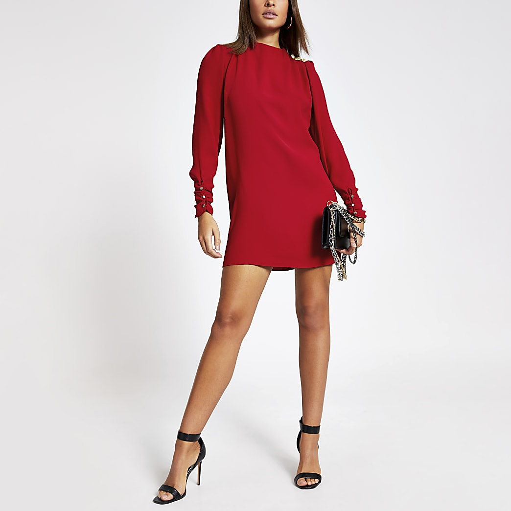 Red button shoulder mini swing dress