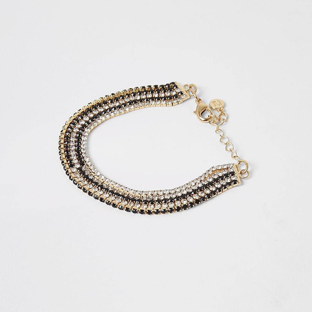 Gold colour diamante layered bracelet