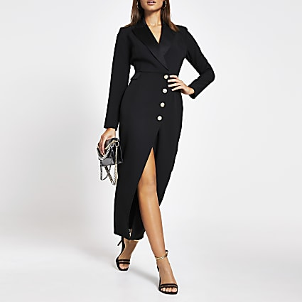 Black button front blazer maxi dress