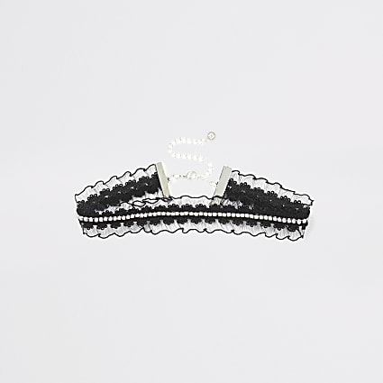 Black diamante frill lace choker