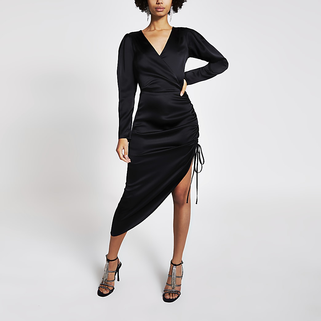 Black ruched side wrap midi dress