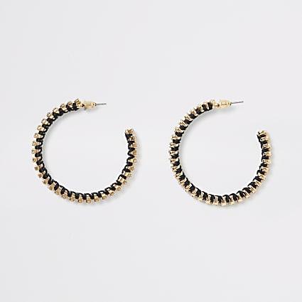 Gold diamante woven hoop earrings
