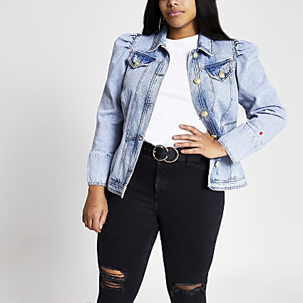 Plus blue long puff sleeve denim jacket