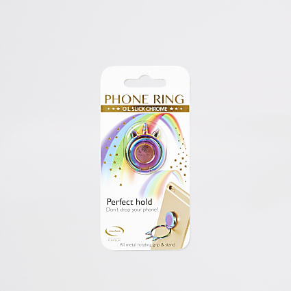 Multicoloured oil slick phone ring