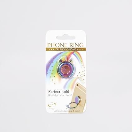 Multicoloured oil slick phone ring