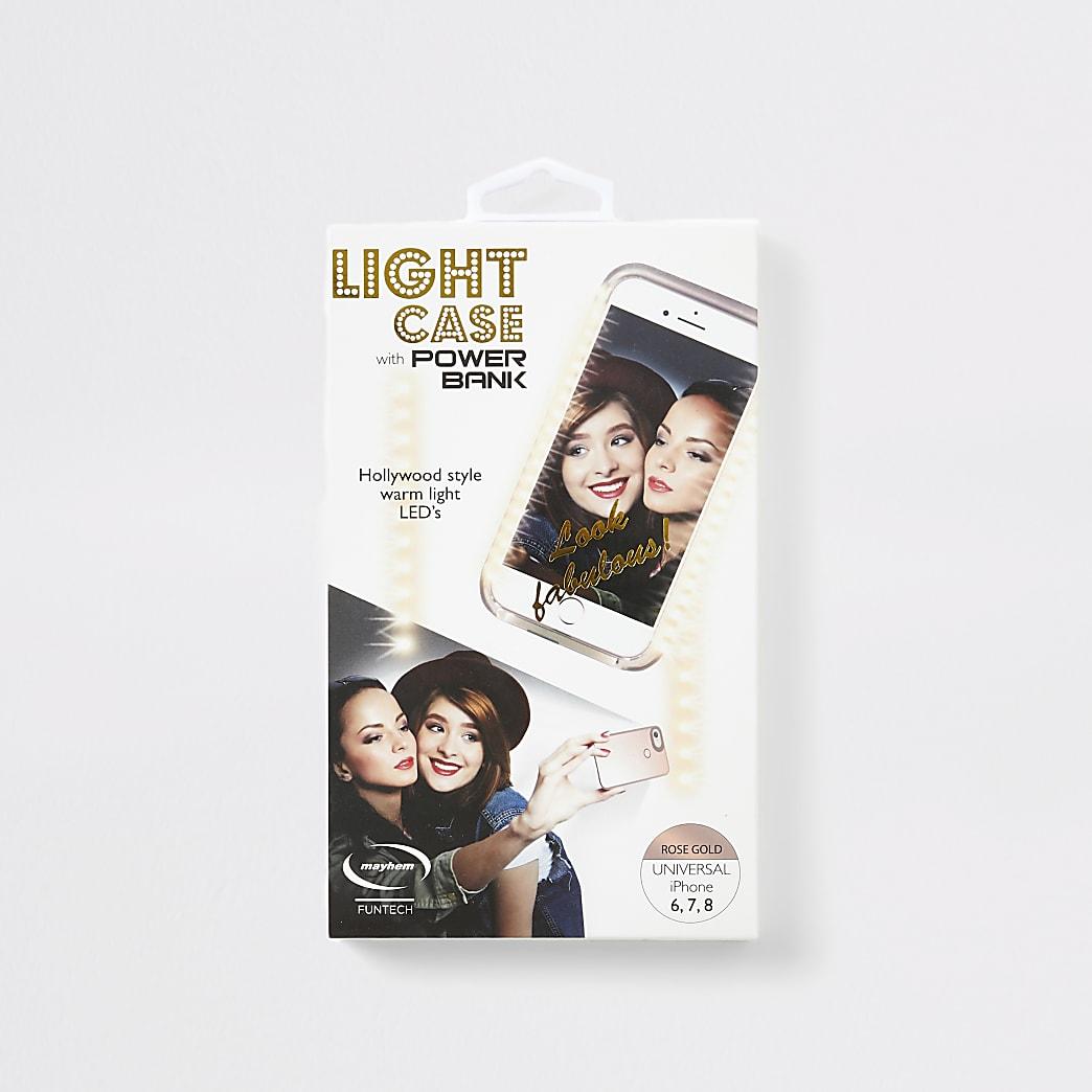 Rose Gold light up selfie phone case