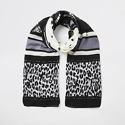 Black mixed print scarf