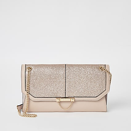 Pink glitter chain underarm shoulder bag