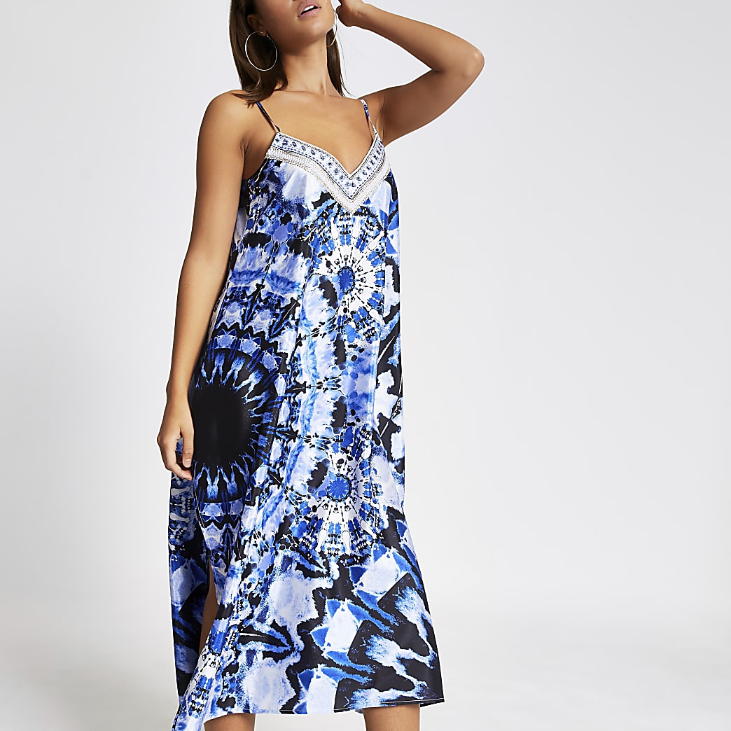 sold worldwide factory outlets best website Blue tie dye embellished slip beach dress | River Island