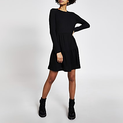 Black long sleeve ribbed mini smock dress