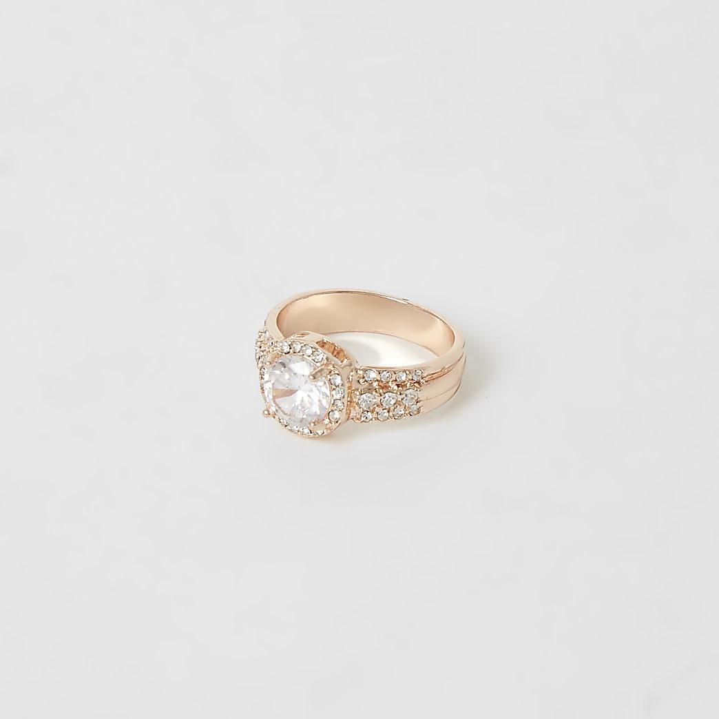 Rose gold colour diamante sparkle ring