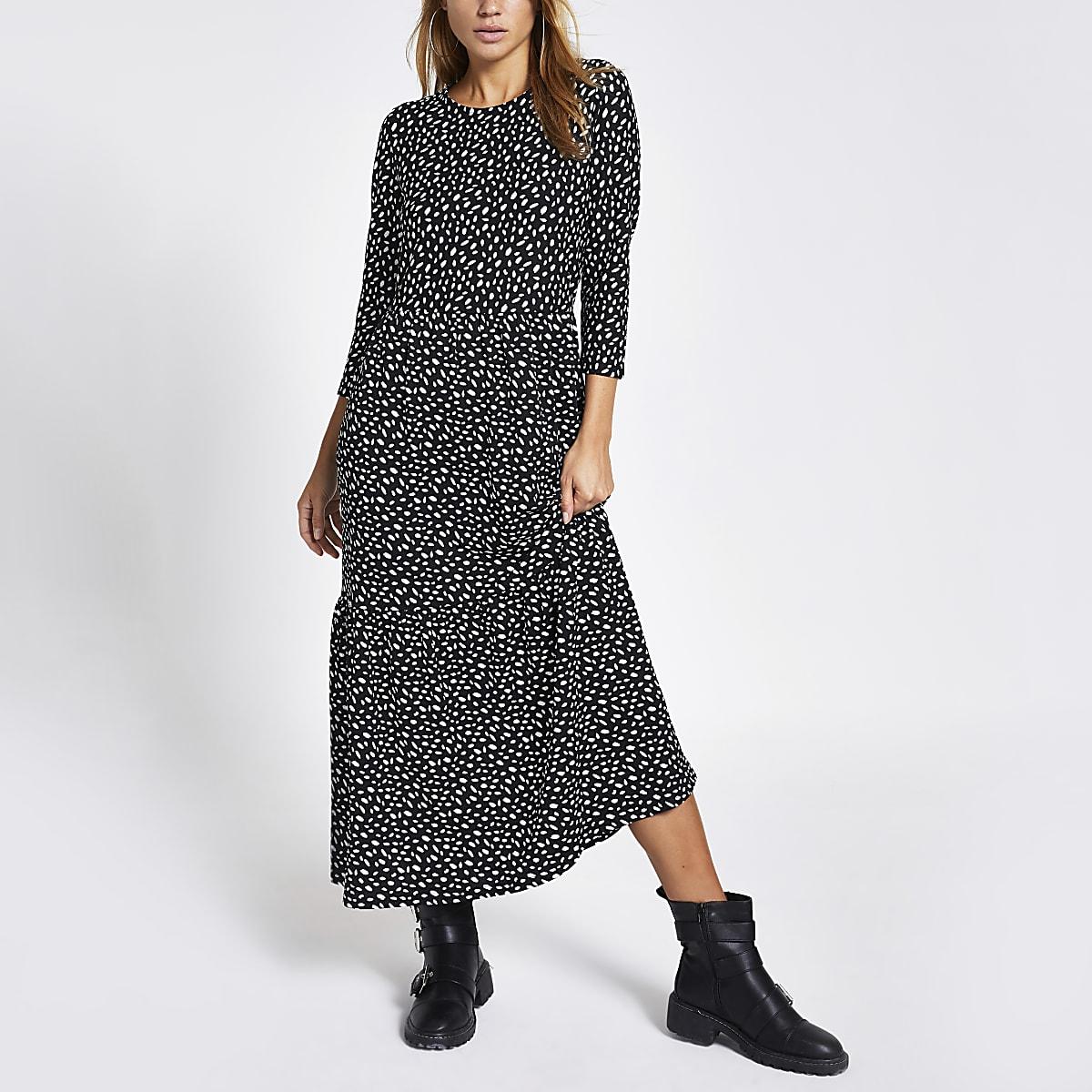 Black spot midi smock dress