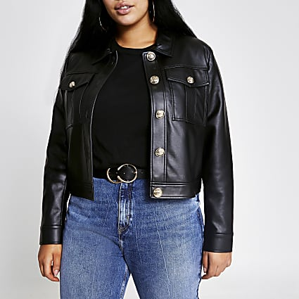 Plus black faux leather cropped jacket
