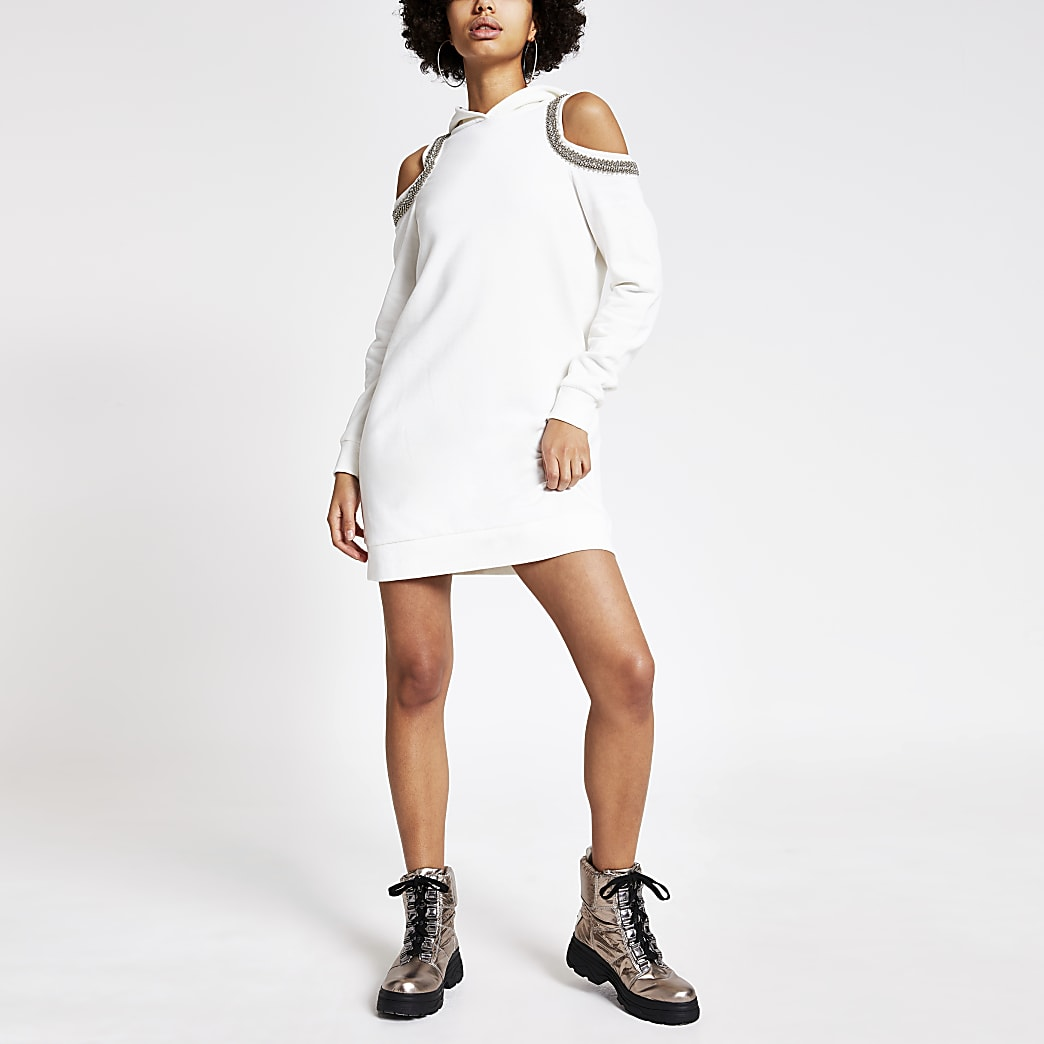 Cream embellished cold shoulder hoodie dress