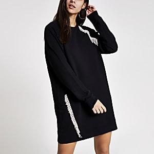 Sweatshirt boyfriend à pompons et strass noir