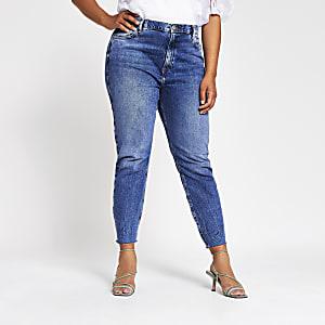 "Plus – Blaue Slim Fit Jeans ""Brooke"" mit hohem Bund"