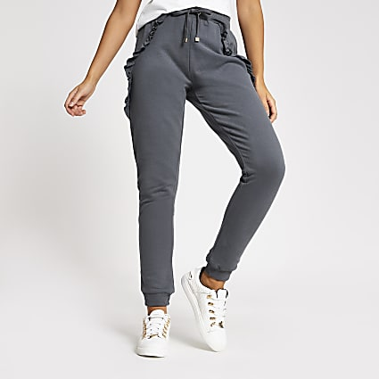 Grey frill side loose fit joggers