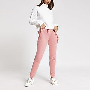 Pantalons de jogging amples rose vif avec volants sur lecôté