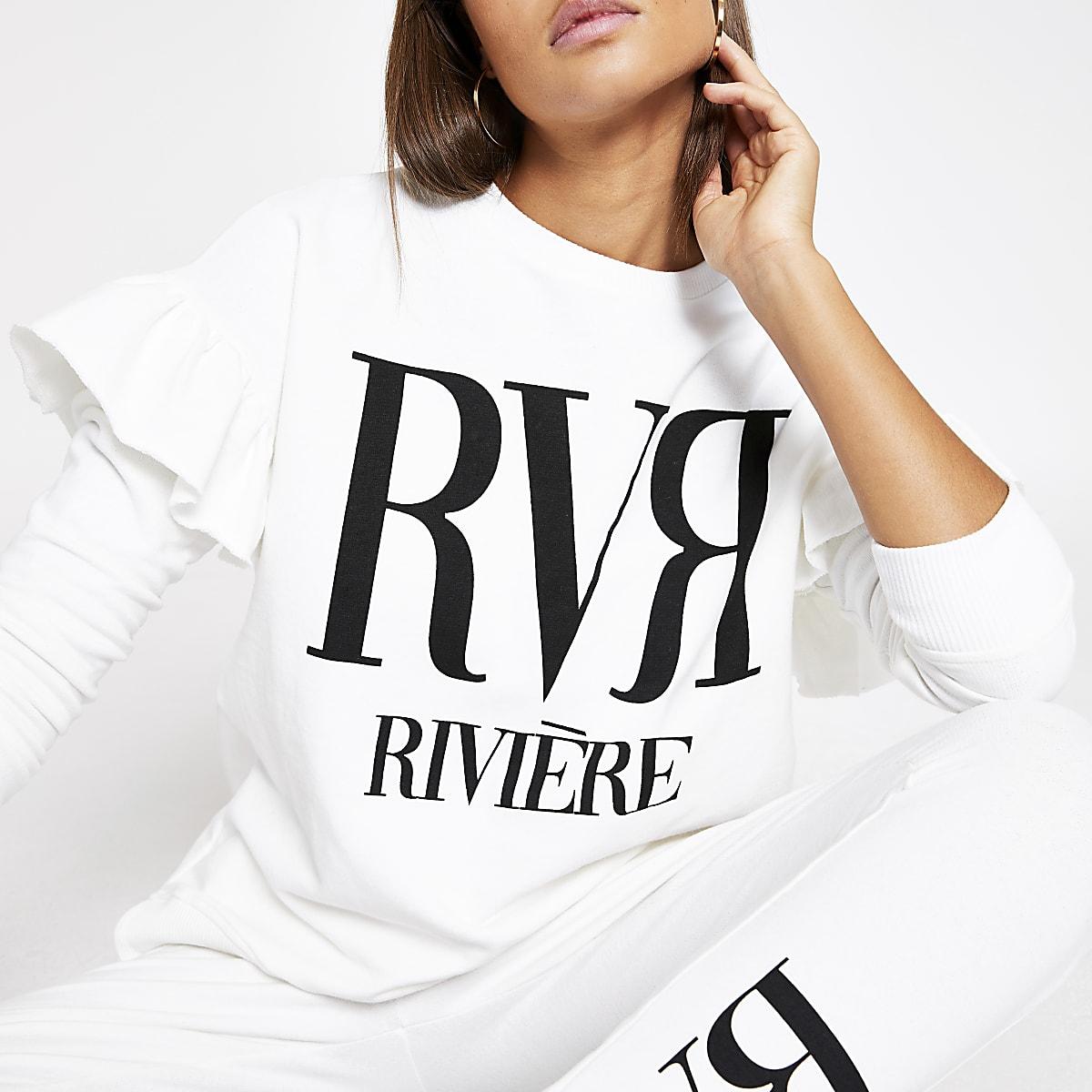 Crèmekleurige sweater met RVR-letters en ruches op schouders