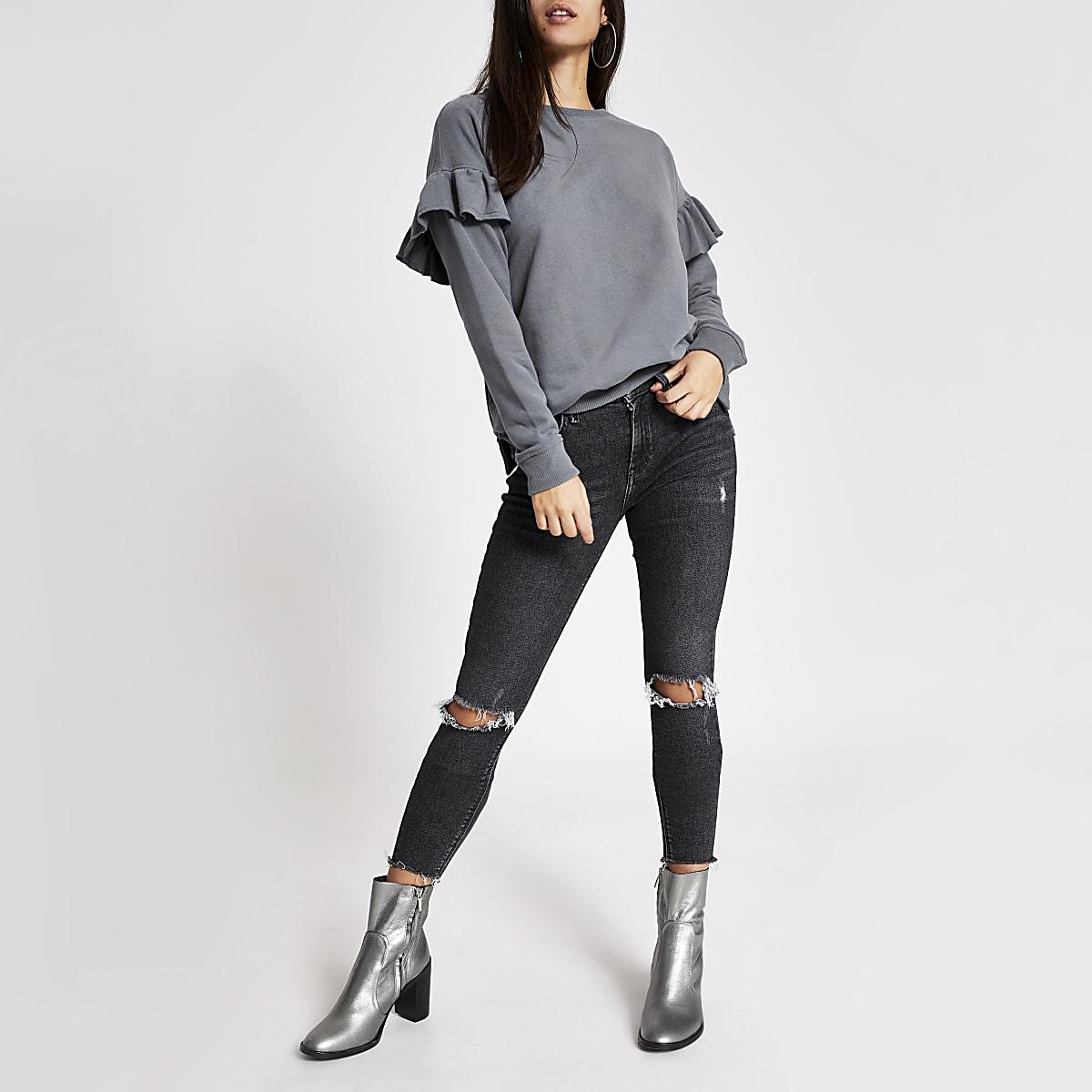 Grey long sleeve frill shoulder sweatshirt
