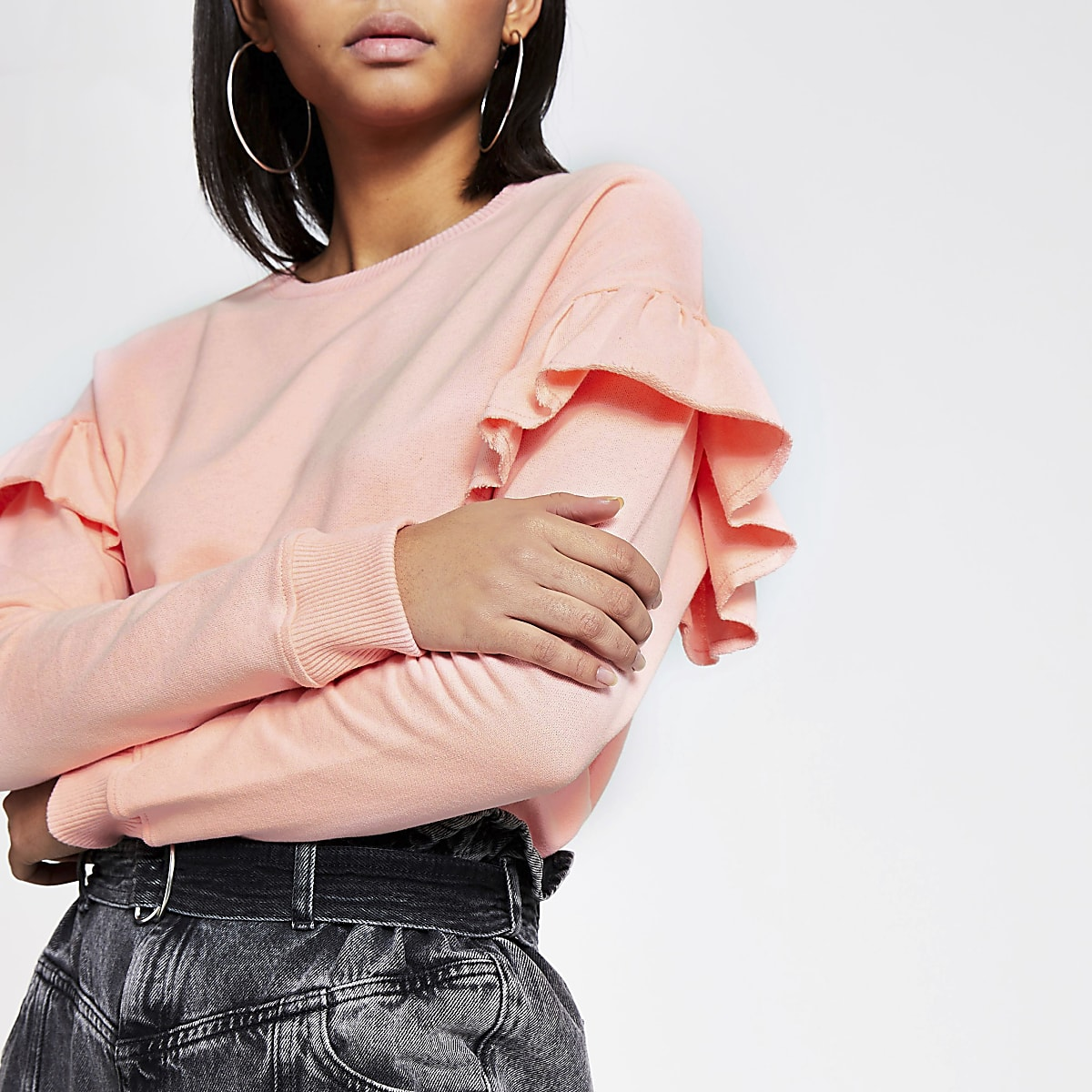 Pink long sleeve frill shoulder sweatshirt