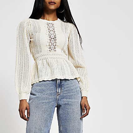 Petite cream lace peplum knitted jumper