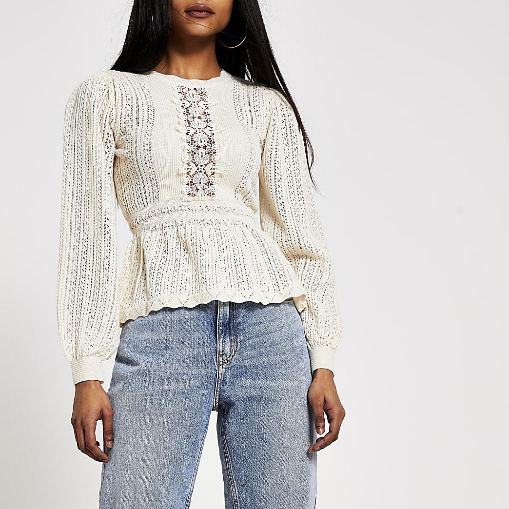 Petite cream lace peplum knitted jumper