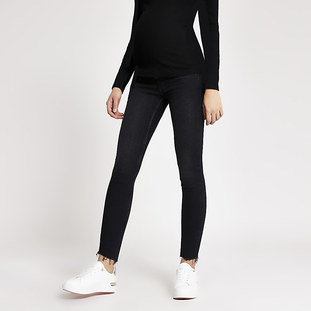 Black Amelie overbump maternity skinny jeans