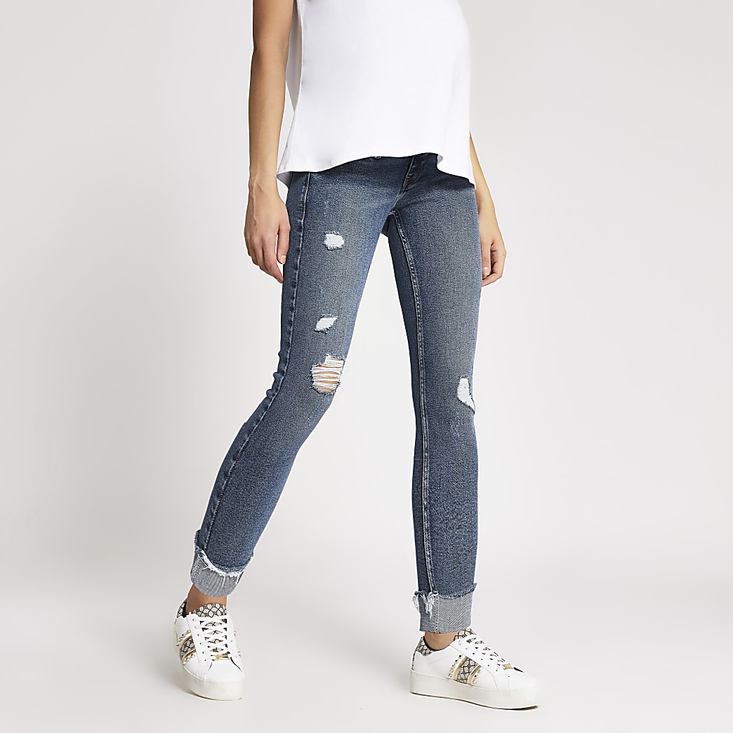 Blue ripped Amelie overbump maternity jeans