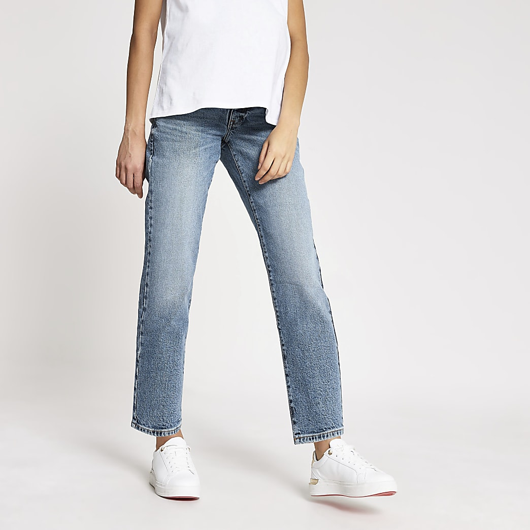 Blue straight leg overbump maternity jeans