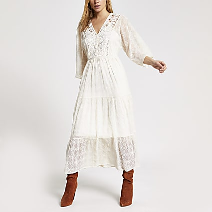 Cream lace long sleeve maxi smock dress