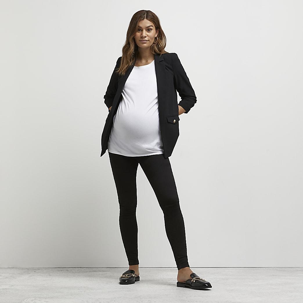 Zwarte Molly zwangerschapsjeggings met tailleband boven de buik