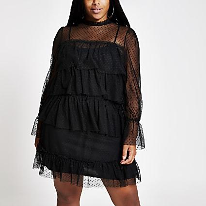Plus black frill mesh mini skater dress
