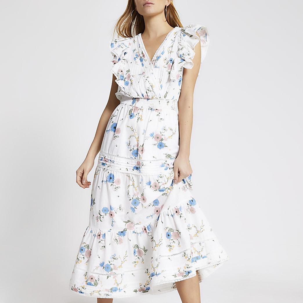 Witte geborduurde midi-jurk met bloemenprint en ruches