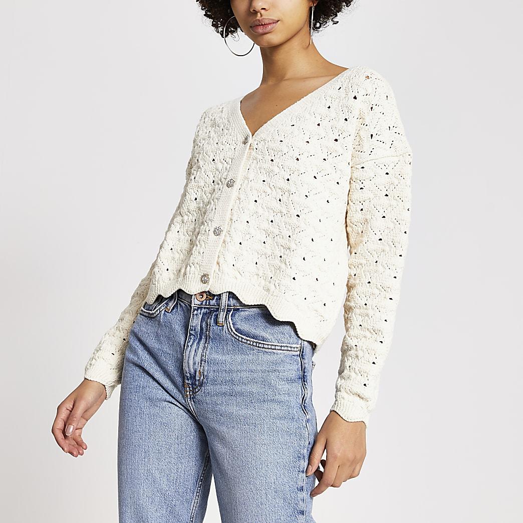 Cream diamante button knitted cardigan