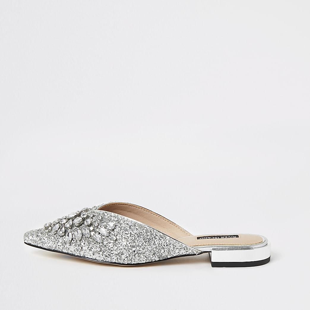 Silver embellished pointed toe sandals