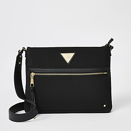Black nylon cross body messenger bag