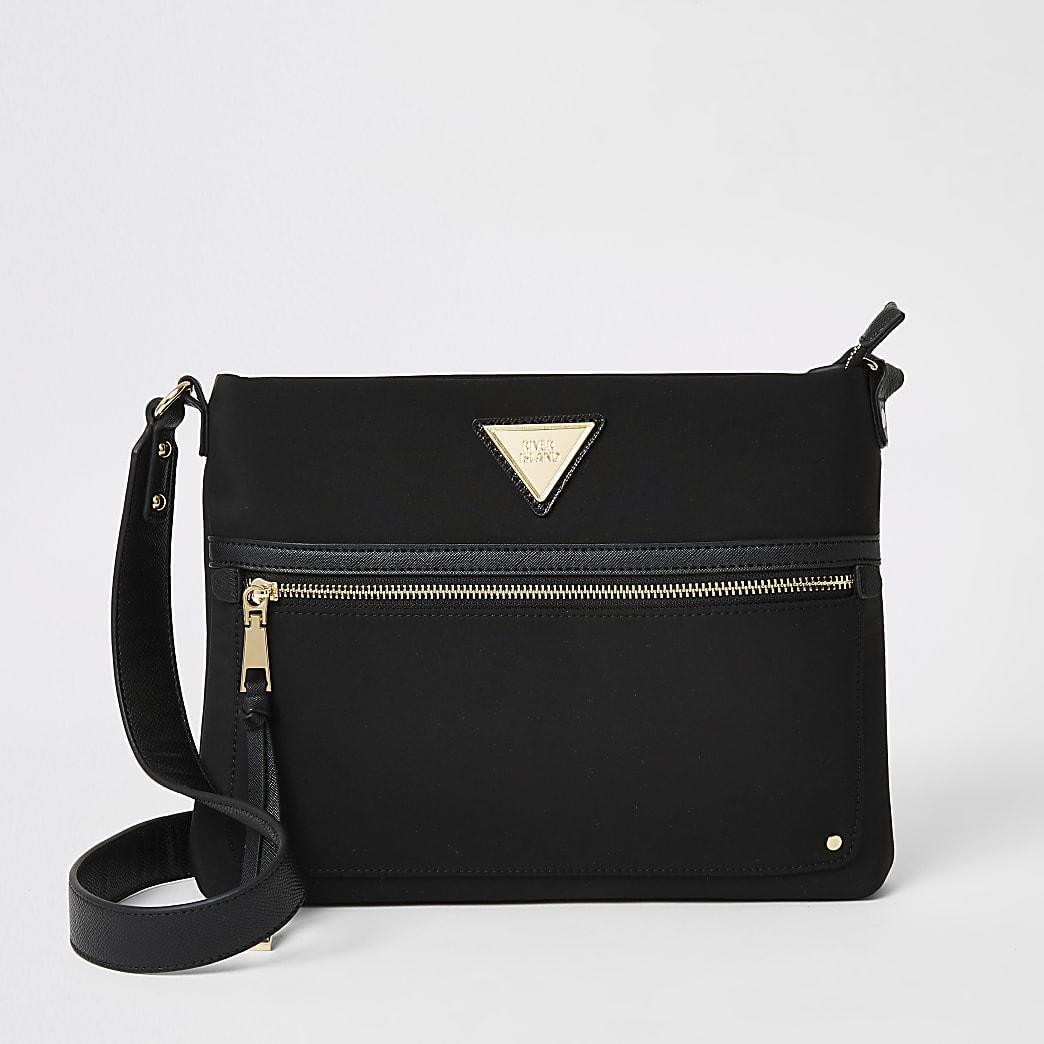 Black nylon cross body messenger bag