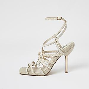 Beige Sandalen mit hohem Absatz und Strassriemchen