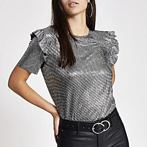 Zilverkleurig metallic T-shirt met korte mouwen met ruches
