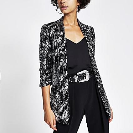 Black sequin pinstripe blazer