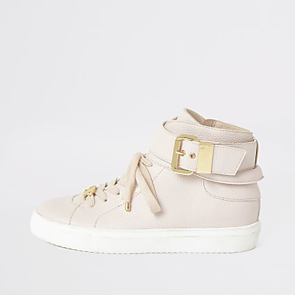 Pink buckle strap high top trainers