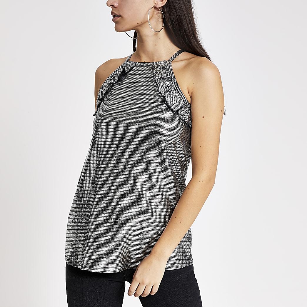 Zilverkleurige metallic mouwloze top met print en franje