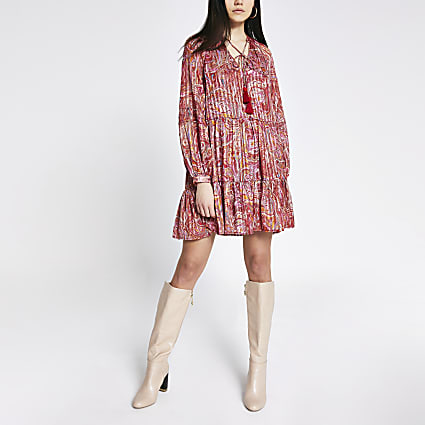 Red printed long sleeve mini smock dress