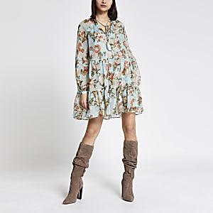 Blauwe metallic gesmokte mini-jurk met bloemenprint