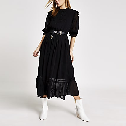 Black embroidered long sleeve midi dress