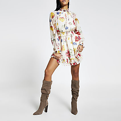 Pink floral long sleeve waisted mini dress
