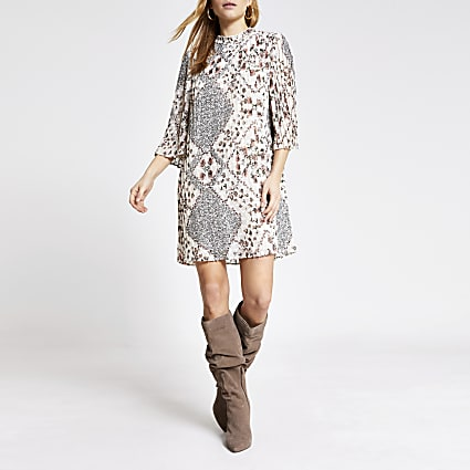 Cream floral pleated mini dress