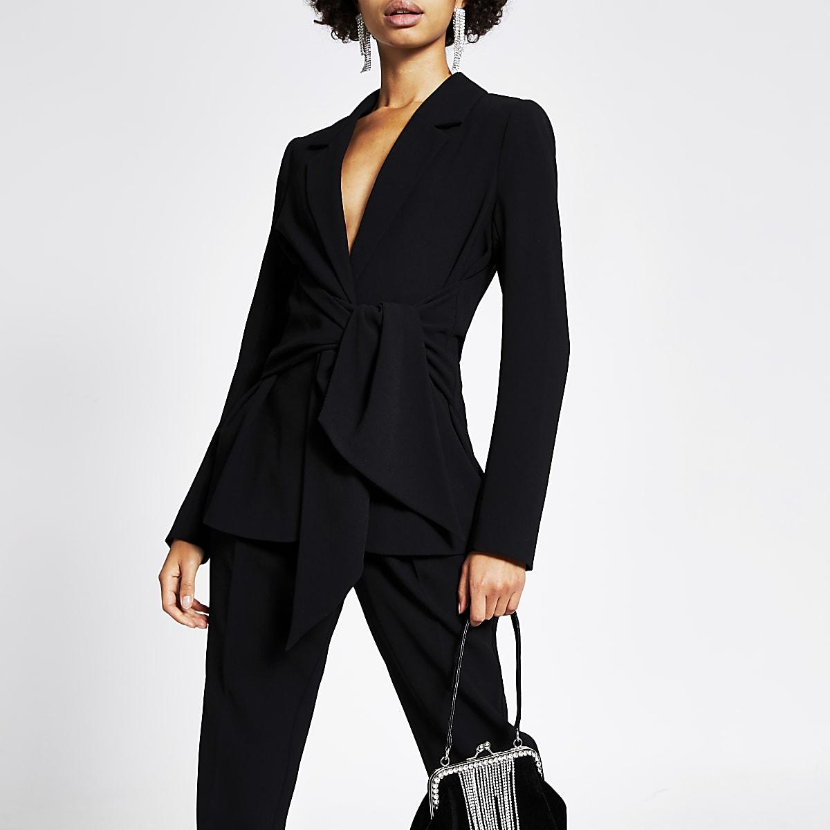 Black tie waisted blazer